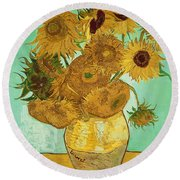 Sunflowers Round Beach Towel by Vincent Van Gogh