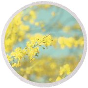 Sunny Blooms 2 Round Beach Towel