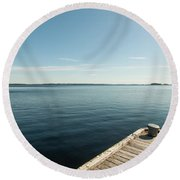 Sunny Day At The Dock Round Beach Towel