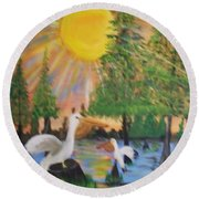 Sunrise In The Pelican State Round Beach Towel