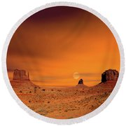 Sunrise Monument Valley Round Beach Towel