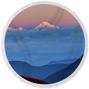 Sunrise On Mount Kanchenjugha At Dawn Sikkim Round Beach Towel
