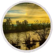 Sunrise On The Payette River Round Beach Towel
