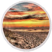 Sunrise Outer Banks Of North Carolina Seascape Round Beach Towel
