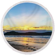 Sunrise Seascape And Crepuscular Rays Round Beach Towel