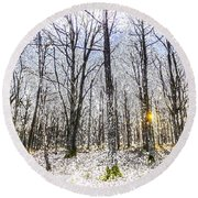 Sunrise Snow Forest Art Round Beach Towel