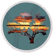 Sunrise Tree Round Beach Towel
