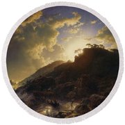 Sunset After A Storm On The Coast Of Sicily Round Beach Towel