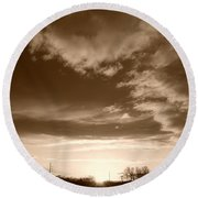Sunset And Clouds Round Beach Towel