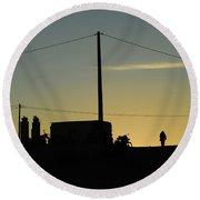Sunset And Silhouette At El Djorf. Tunisia Round Beach Towel