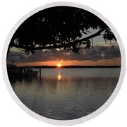 Sunset At Islamorada Round Beach Towel