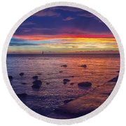 Sunset At Mauritius Round Beach Towel
