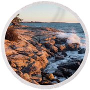 Sunset At Ocean Point, East Boothbay, Maine  -230204 Round Beach Towel