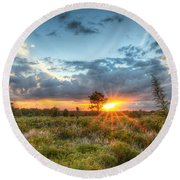 Sunset At The Field Of Dreams Round Beach Towel