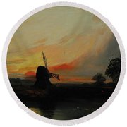 Sunset By The Windmill Round Beach Towel