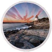 Sunset, Castle Hill Lighthouse  Round Beach Towel