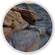 Sunset Comes To Valley Of Fire Round Beach Towel