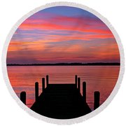 Sunset Dock Round Beach Towel
