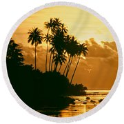 Sunset In Atiha, Moorea, French Polynesia Round Beach Towel