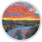 Sunset In El Prado Round Beach Towel