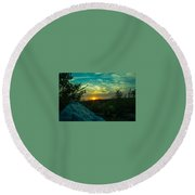 Sunset In Hudson Nh Round Beach Towel