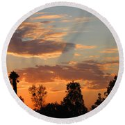Sunset Moreno Valley Ca Round Beach Towel