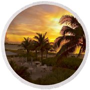 Sunset On Grace Bay Round Beach Towel