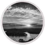 Sunset On The Niangua Round Beach Towel