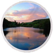 Sunset Over A Lake Round Beach Towel