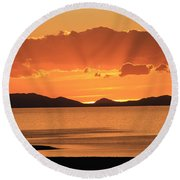 Sunset Over The Great Salt Lake Round Beach Towel