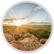 Sunset Over The Mountains Of Flaggstaff Road In Boulder, Colorad Round Beach Towel