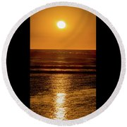 Sunset Over The Ocean Round Beach Towel
