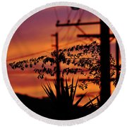 Sunset Sihouettes Round Beach Towel