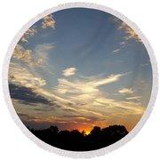 Sunset Sky Over Ohio Round Beach Towel