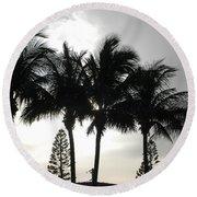 Sunset Thru The Trees Round Beach Towel