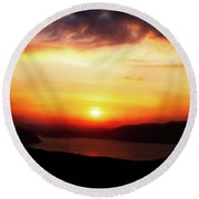 Sunsetting Over Portree, Isle Of Skye, Scotland No.2. Round Beach Towel