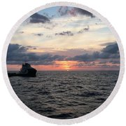 Supply Boat Round Beach Towel