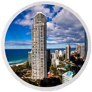 Surfers Paradise View Round Beach Towel