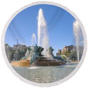 Swann Fountain - Center City Philadelphia Round Beach Towel