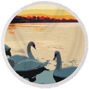 Swans At Sunset Round Beach Towel