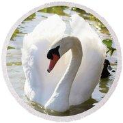 Sweet Swan 2 Round Beach Towel
