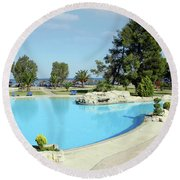 Swimming Pool Summer Vacation Scene Round Beach Towel