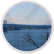 Tacoma Narrows Bridge Round Beach Towel