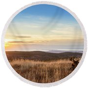 Taking In The Sunset Round Beach Towel
