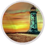 Talacre Lighthouse - Wales Round Beach Towel
