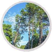Tall Pine Trees Round Beach Towel