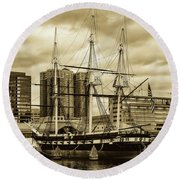 Tall Ship In Baltimore Harbor Round Beach Towel