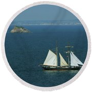 Tall Ship Passing Thatcher's Rock, Torbay Round Beach Towel