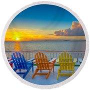 Tampa Bay Sunset Round Beach Towel
