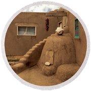 Taos Pueblo Round Beach Towel
